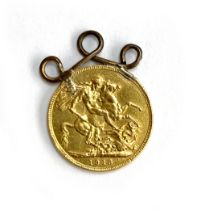 A gold sovereign, 1913, with soldered pendant loop