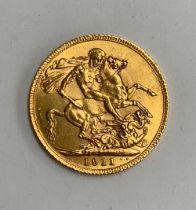A 1911 gold sovereign