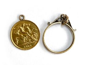 A 1910 half sovereign, together with a 9ct gold half sovereign mount, 4.9g