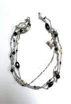 A 925 silver, pearl and glass bead necklace, approx. 122cmL