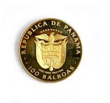 A 1975 Republica De Panama 100 Balboas gold coin, 900/1000 (21.6ct)