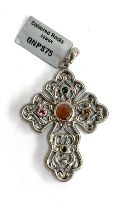 A Stephen Whittard pewter cross set with sunstone and tourmalines, 6cmL, with certificate of