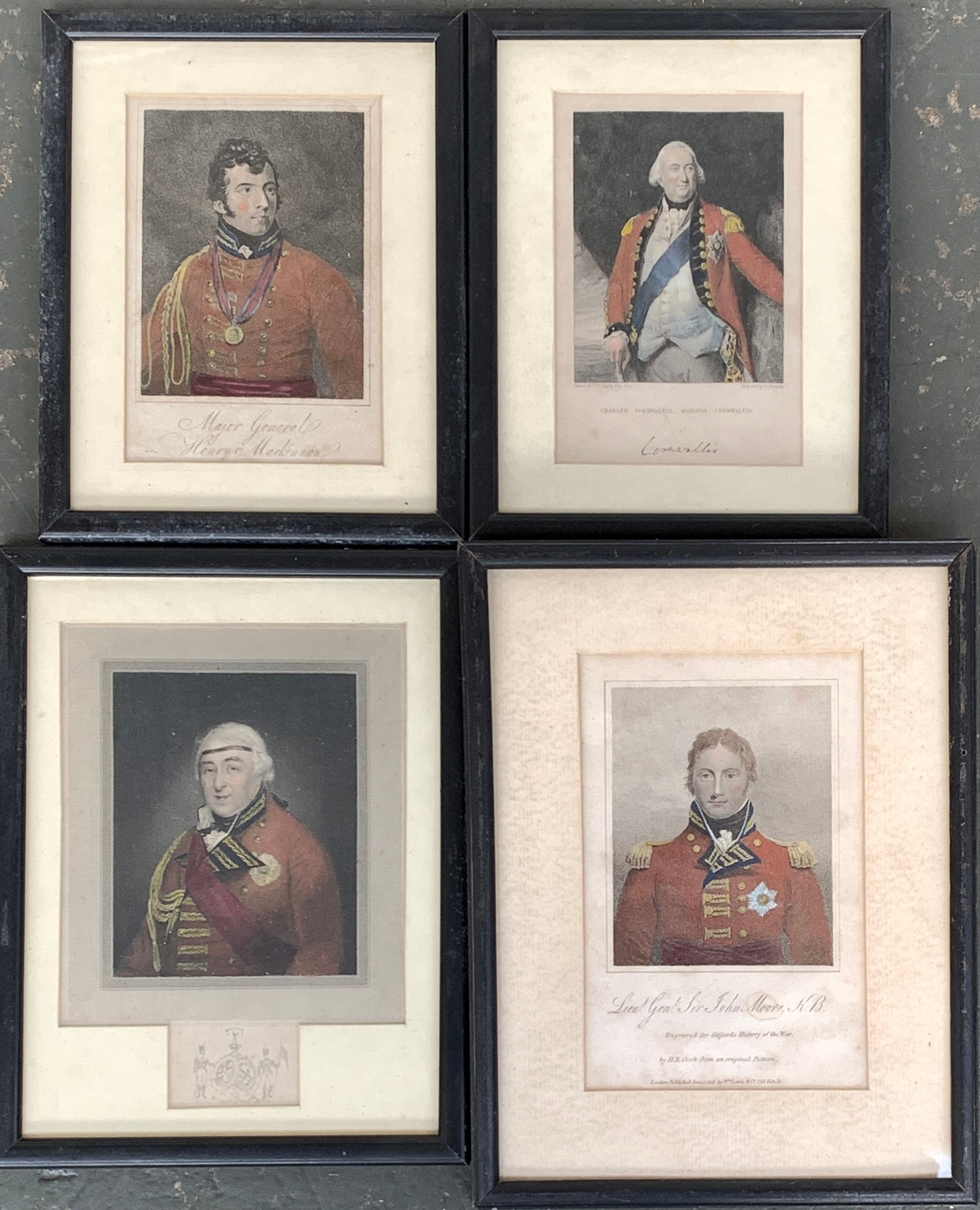 A lot of four coloured engravings of military officers: Major General Henry Mackinnon, 15x10.5cm;