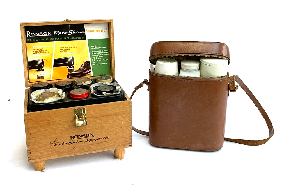 A Ronson Roto-Shine electric shoe polisher, with brushes; together with two pairs of gents wooden - Image 2 of 3