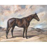 Joan Barrington (20th century British), 'Pauper', Quetta 1938, study of a racehorse, oil on