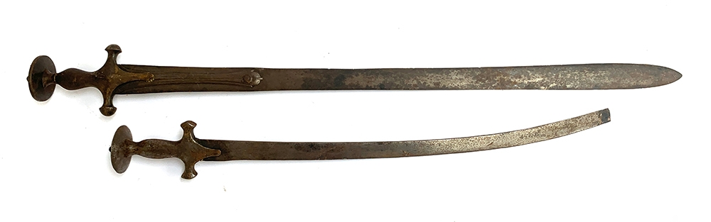 An Indian Talwar sword with double edged 84cm blade; together with one other with broken blade (2)