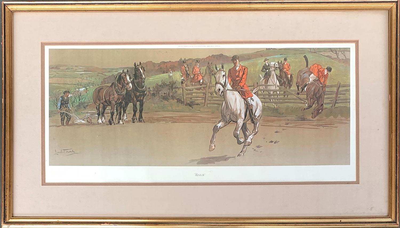 After Lionel Edwards, 'Rails', colour print, 26x59cm