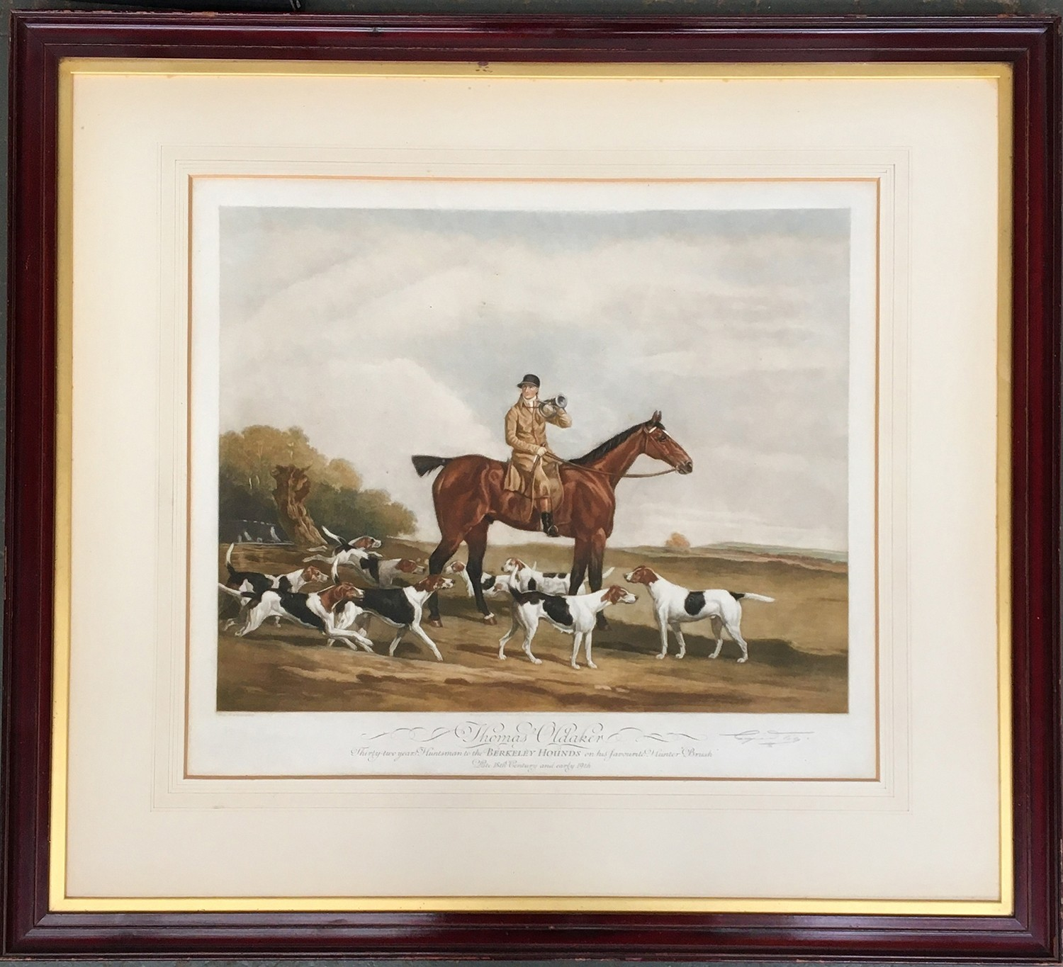 Hunting interest: Thomas Oldacre, huntsman to the Berkeley Hounds, coloured print with studio