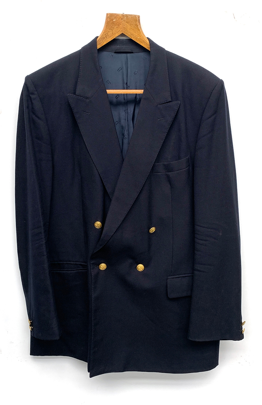 """A double breasted Christian Dior at Harrods navy wool blazer, 44"""" chest"""