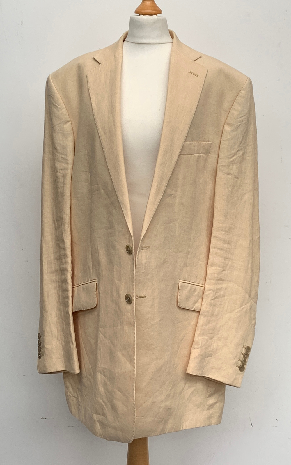 """An Oliver Brown of Chelsea Irish linen two piece suit, with an associated waistcoat, 46"""" chest,"""