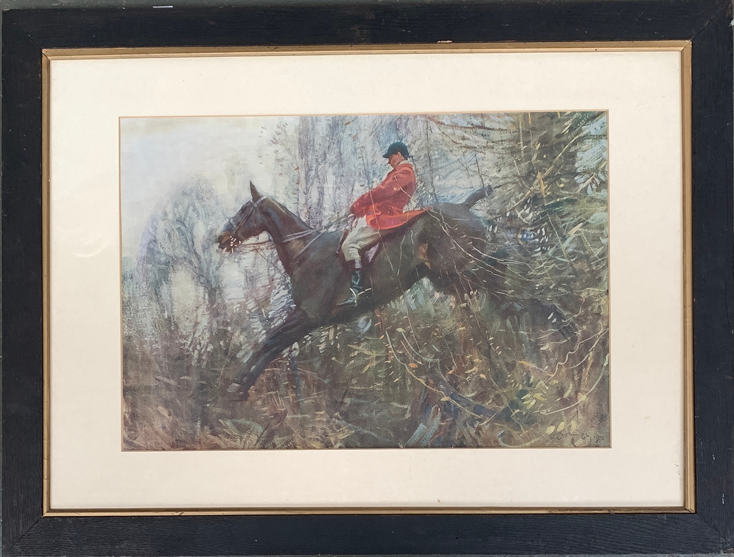 After Alfred Munnings, 'The Huntsman', colour print, 40x57cm; together with one other