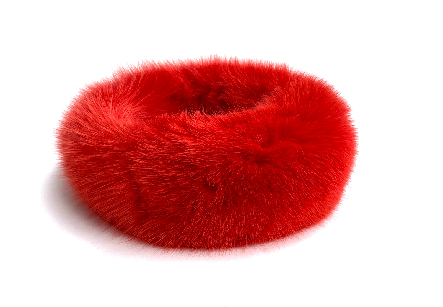 A Herbert Johnson ladies red fur hat, in fitted box