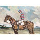 'Tim Thomas' jockey up, oil on canvas, signed indistinctly, 36x50