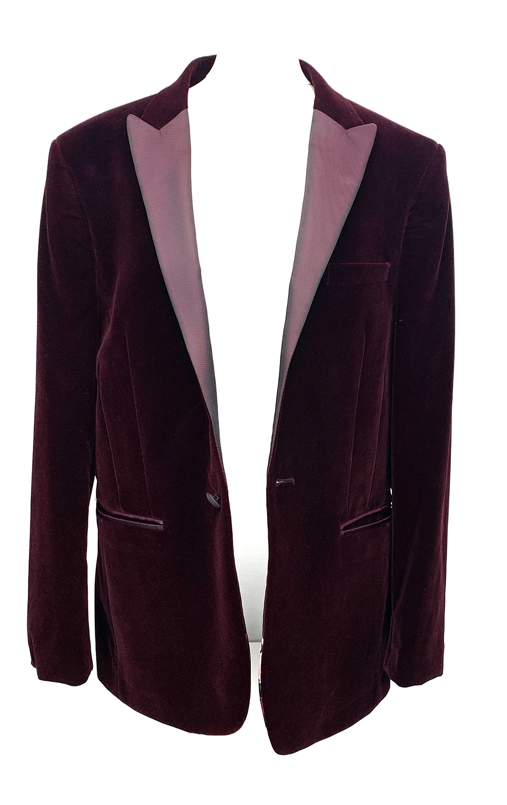 """A Moss of London slim fit single breasted smoking jacket, 40"""" chest; together with an associated"""