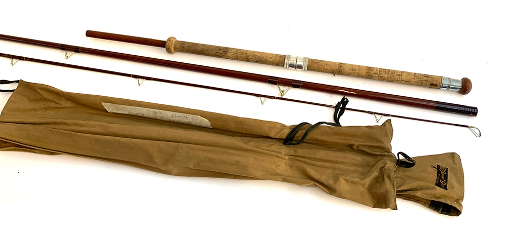 """B. James & Son of England Long Trotter three piece fibreglass coarse rod, 11'6"""", in a canvas rod"""