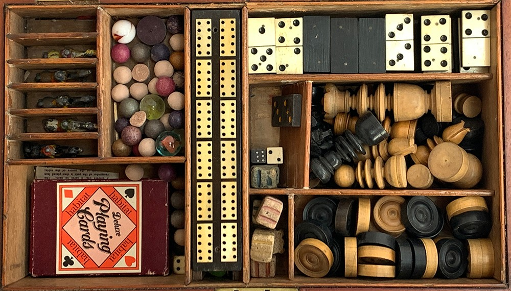 A 19th century mahogany cased compendium of games to include chess and backgammon boards and pieces; - Image 3 of 5