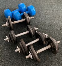 A set of four Pro-Power spinlock dumbbells with weights, together with a pair of Eurotrim 5kg