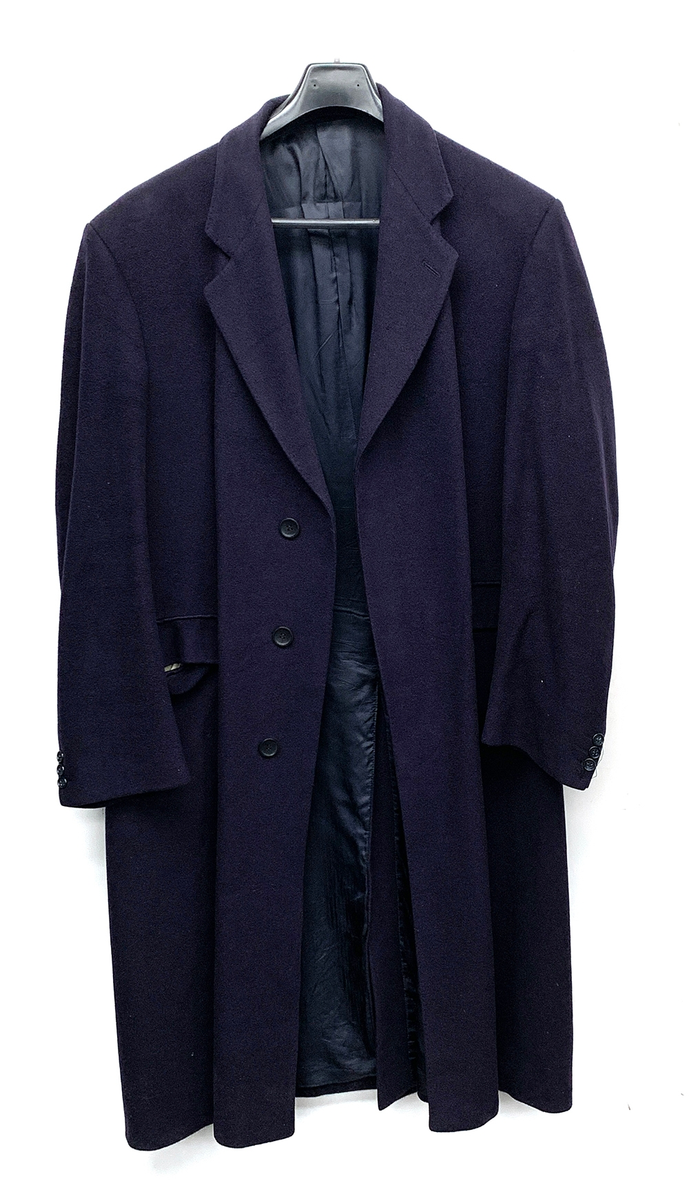 """A Berwin & Berwin for Harrods cashmere overcoat, 46"""" chest, some wear"""