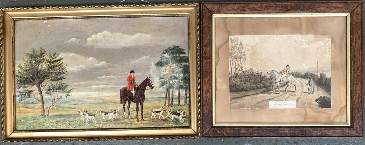 A naive painting of huntsman and hounds, oil on artist's board, 29x44cm; together with one other (2)