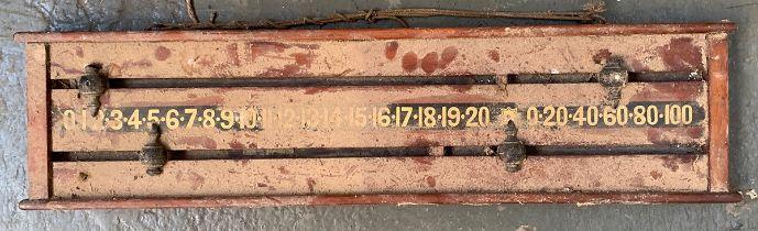 A mahogany billiards/snooker score board, 79cm wide