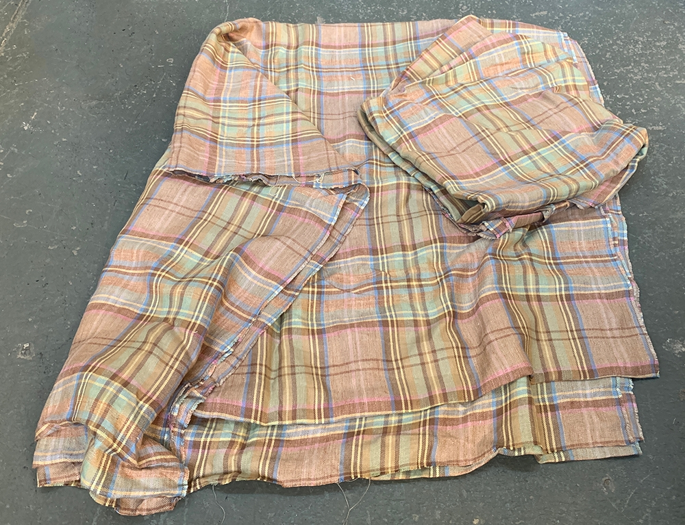 Two unmade curtain lengths of light tartan tweed - Image 2 of 2