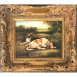 A textured print of spaniels at rest, in gilt frame, 19x24cm
