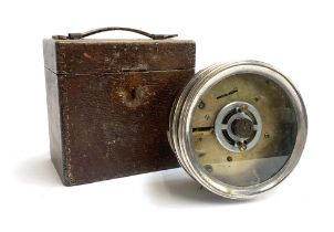 Pigeon racing interest: a brass and nickel timer, 18cm diameter, in wooden case