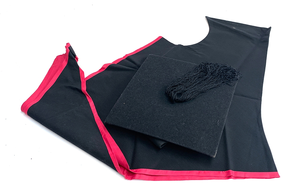 A Walters of Oxford mortar board and gown