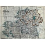 A WW2 silk escape and evasion map of Northern and Southern Ireland, approximately 39x55cm, in very