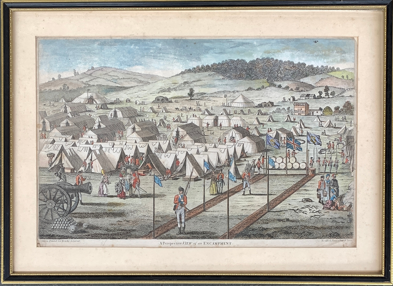 A late 18th century hand coloured print, 'A Perspective View of an Encampment', c.1777, 28x43cm