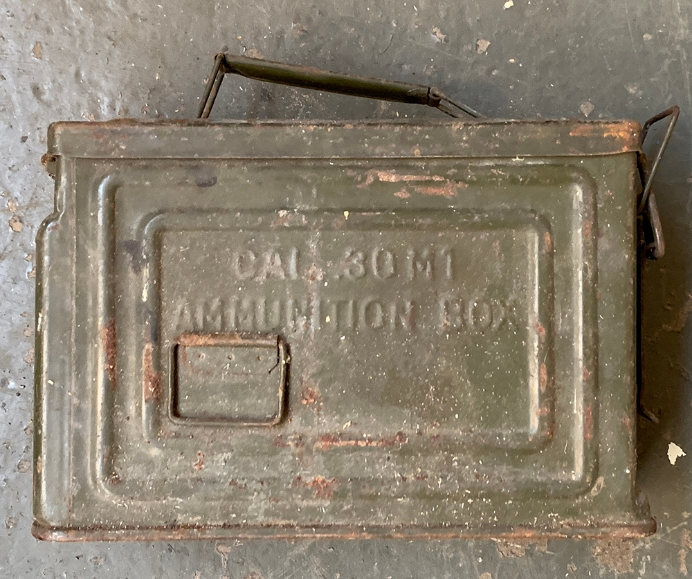 A pair of WWII collapsible Land Rover aerials in canvas clips, together with an ammunition box - Image 2 of 2