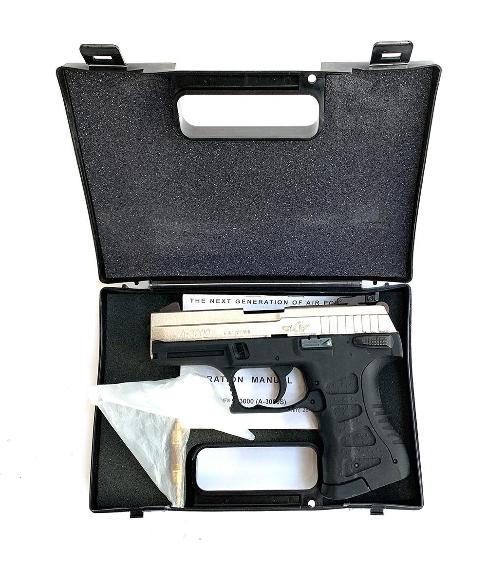 A Skif a-3000 .177 28 shot air pistol, in hard carry case