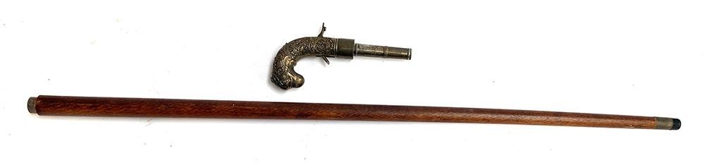 A reproduction gun stick with canon barrel