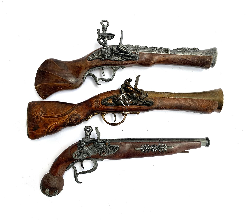 Three replica flintlock pistols