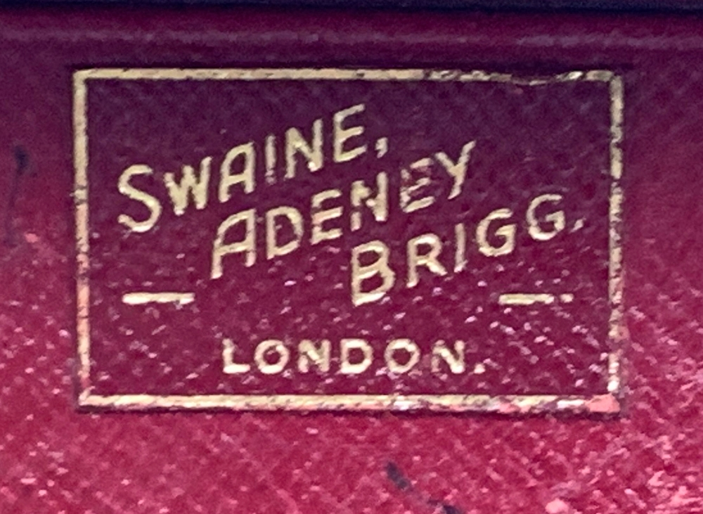 A gent's brown leather writing case, by Swaine, Adeney & Brigg, with fitted red leather interior, - Image 3 of 4