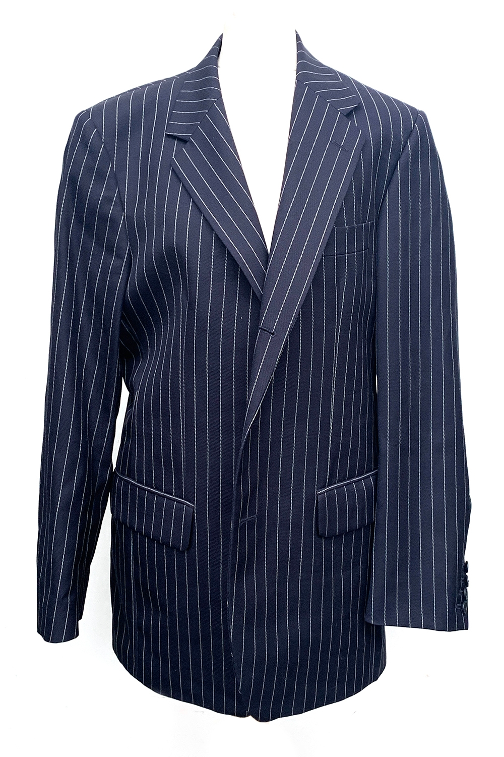 """A gent's single breasted wool pinstripe suit, blue lining silk, size 38"""" chest, the trousers with"""