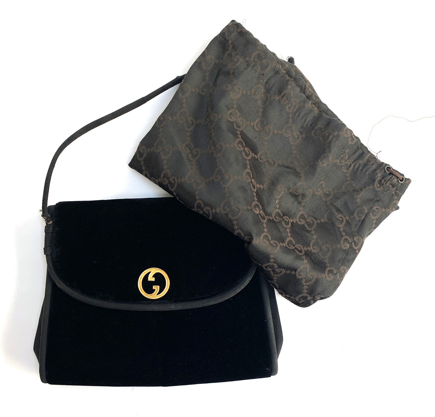 A Gucci black evening bag with Gucci clip case (af) - Image 2 of 2