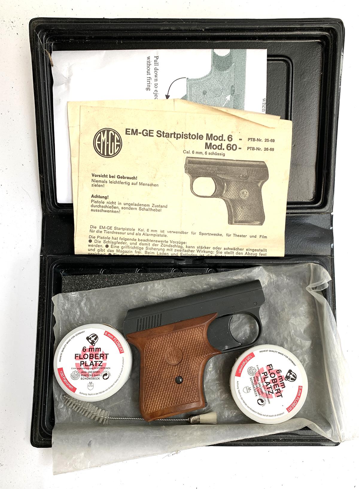 A German EM-GE starter pistol by Gerstenberger u. Eberwein, model 6, with blank cartridges, etc