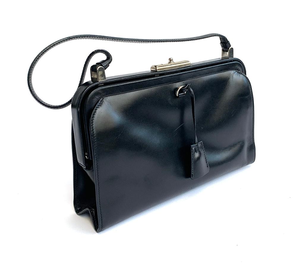 A Prada black leather handbag, with felt dust bag - Image 2 of 4