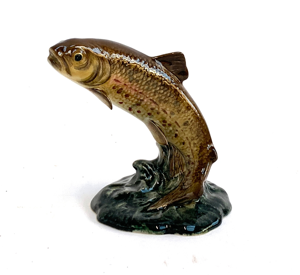 A Beswick model of a leaping trout, marked 1390 to base, 10.5cmH