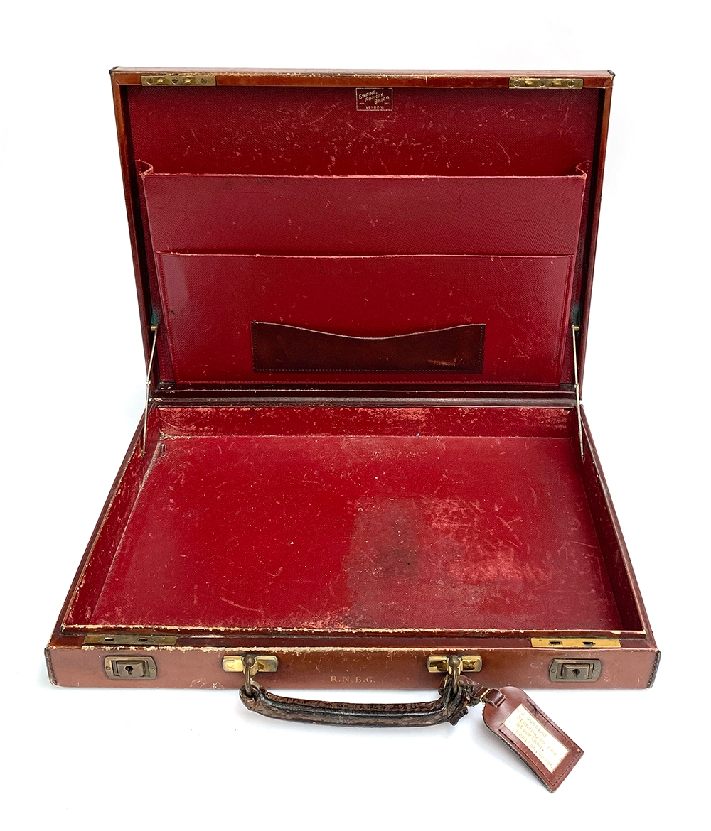 A gent's brown leather writing case, by Swaine, Adeney & Brigg, with fitted red leather interior, - Image 4 of 4