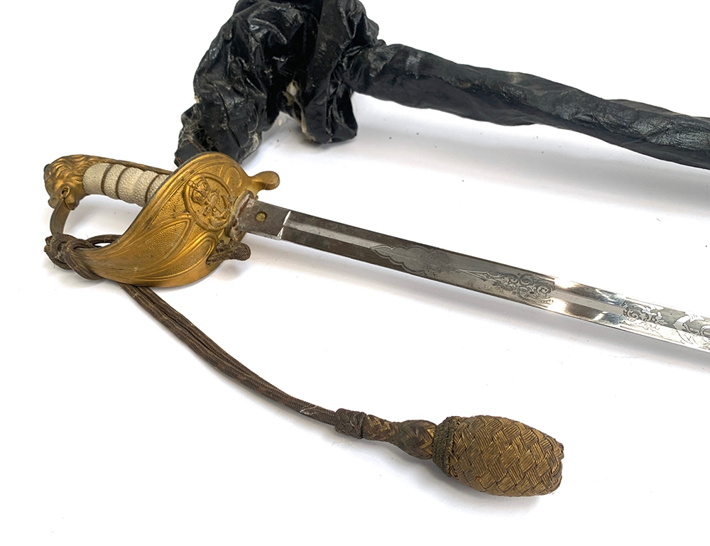 A Royal Navy Officers' dress sword with lion's head pommel, wire bound shagreen grip, Gothic - Image 2 of 2