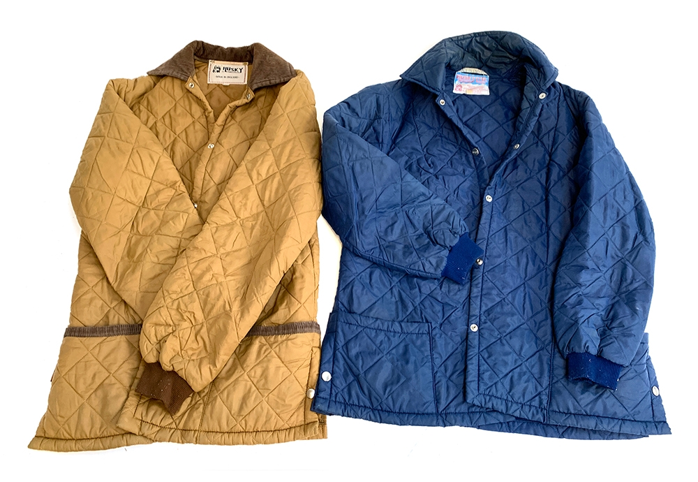 Two vintage Huskey quilted jackets, one brown, one blue, size 36 and 38R