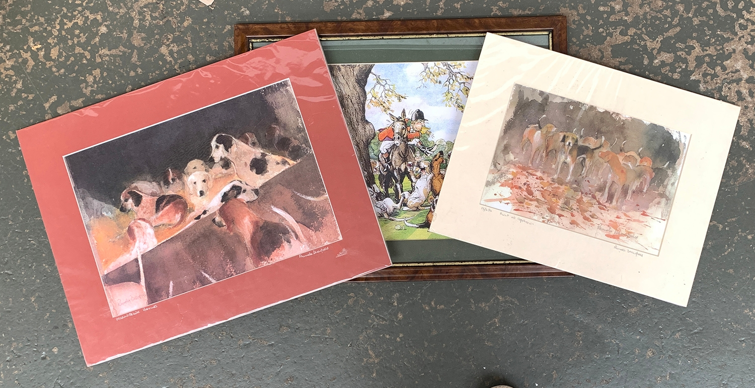 Pamela Dronfield, 'The Warwickshire Hounds' and 'Hunt at Cappaquin', signed, mounted and wrapped,