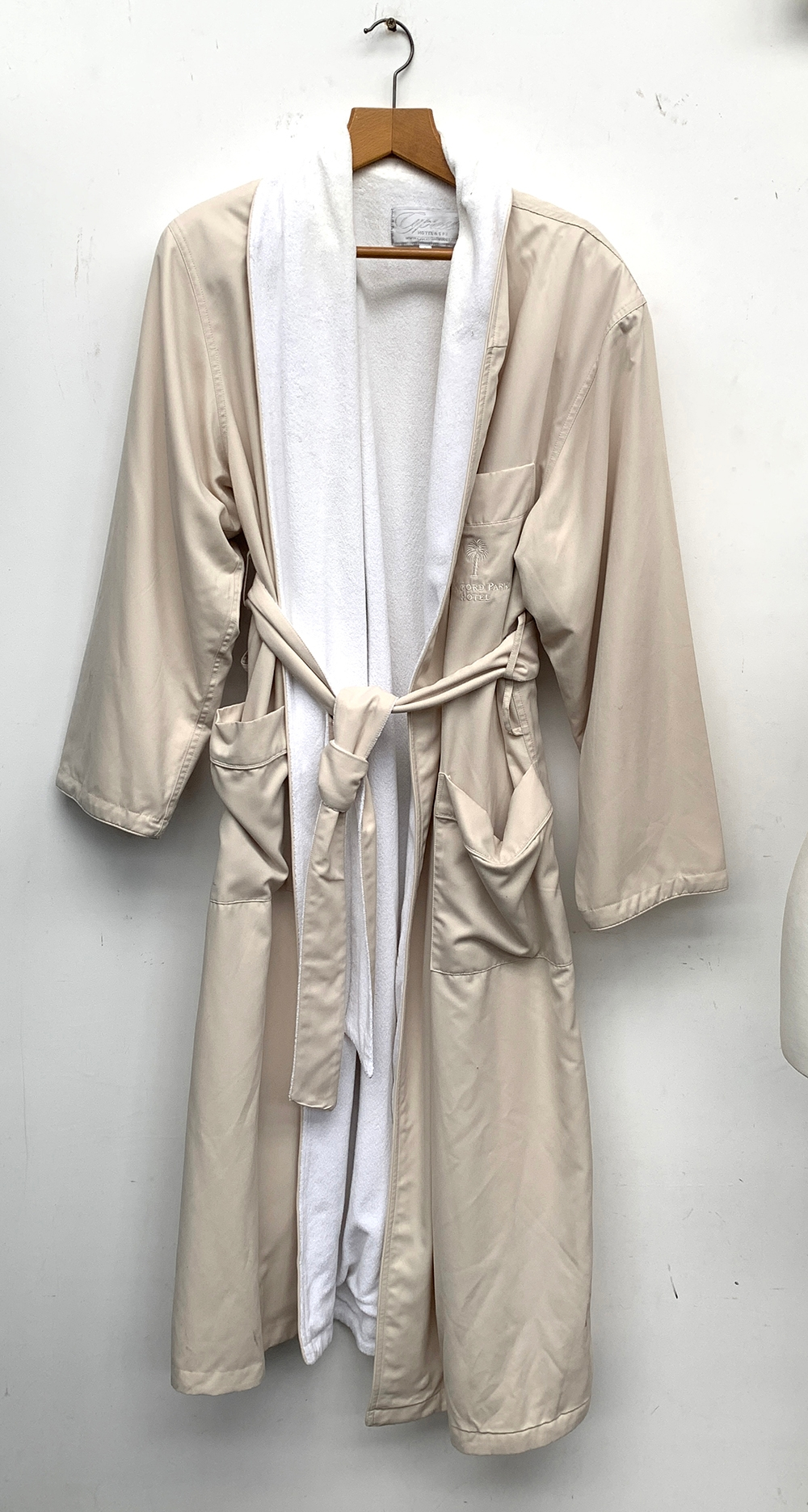 A towelling bathrobe from the Standford Park Hotel, California