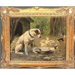 S. P. Bennet (?), study of a terrier and chicks, oil on board, signed lower left, 27x35cm