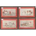 Four colour prints of fox hunting scenes after Herring snr, each 16.5x31cm; together with one