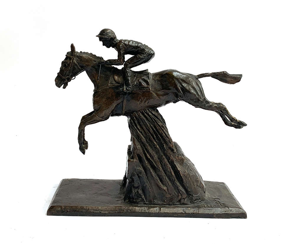 A bronze study of a steeplechaser, marked SE to base, 2000, 24cm high