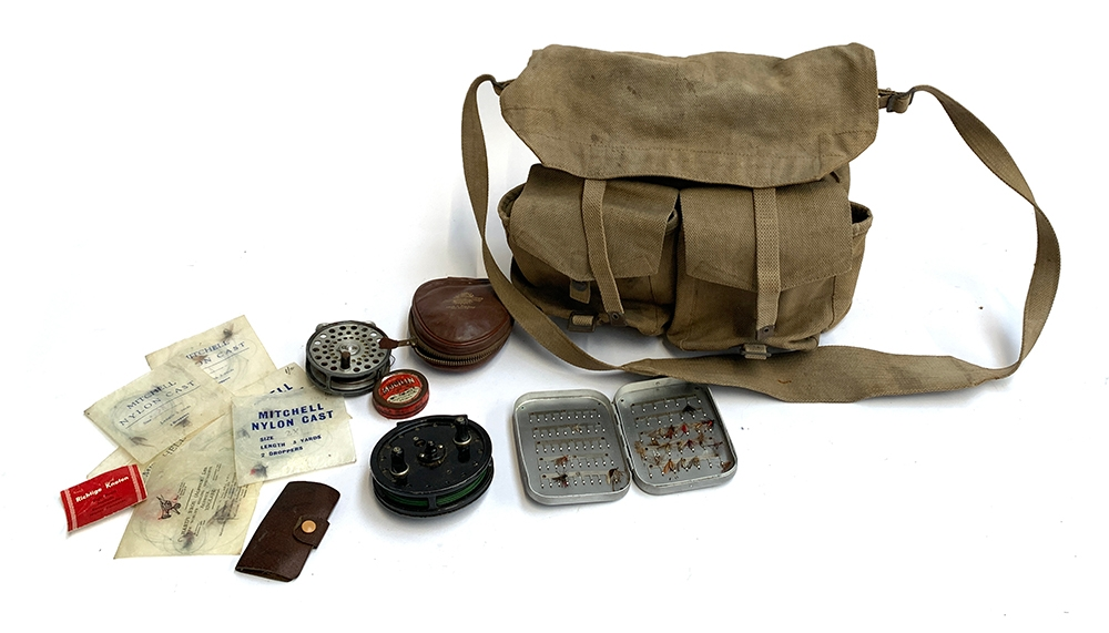 A Hardy Bros. Ltd Alnwick heavy duty canvas fly fishing bag; various nylon casts with flies and