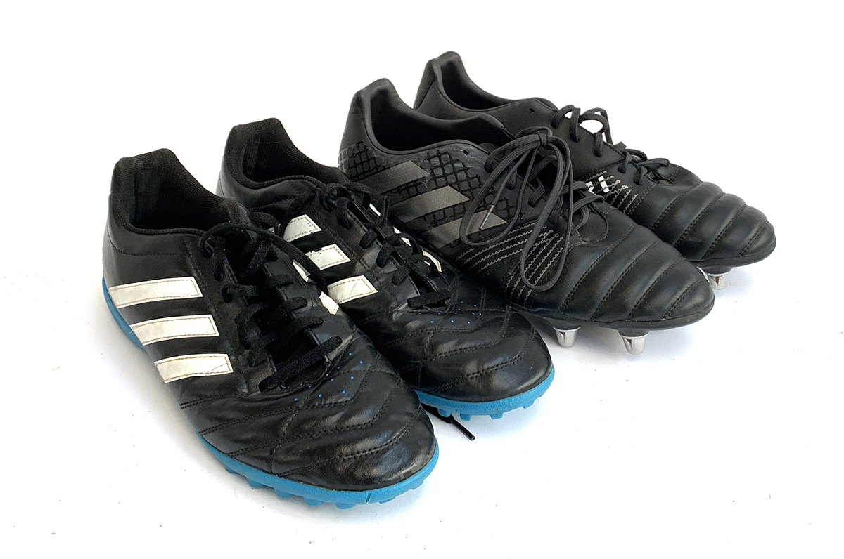 A pair of mens Adidas football boots, unworn size 12; together with a pair of size 13 Adidas astro s